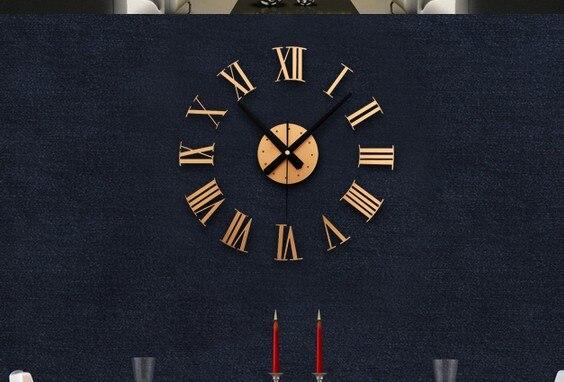 Classic Black 3 D Diy Roman Numerals Wall Clock Creative Combination - 3-roman-numerals-clocks