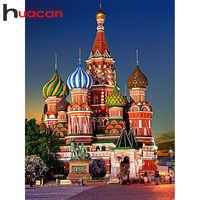 Huacan 5D Diamant Malerei Voll Platz Moskau Kirche Diamant Mosaik Strass Bild Stickerei Verkauf Wohnkultur Drop Schiff