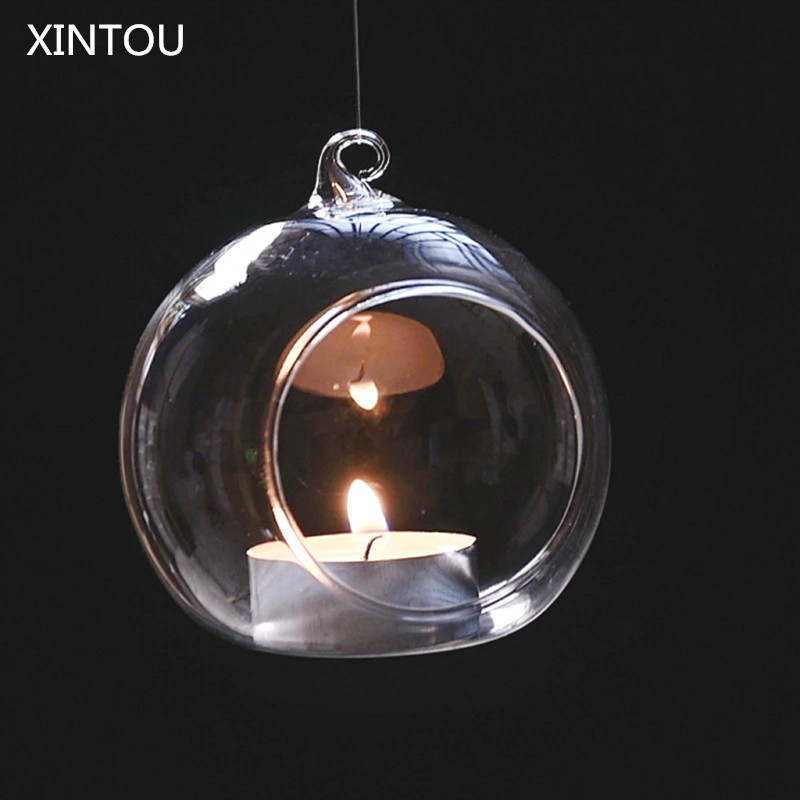 xintou 5pcs set white hanging glass ball lantern tealight candle holder christmas wedding home. Black Bedroom Furniture Sets. Home Design Ideas