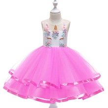 Princess Girls Unicorn Tutu Dress Lace Mesh Flowers Costumes For Children Kids Christmas Wedding Party Dresses 2-10 Year