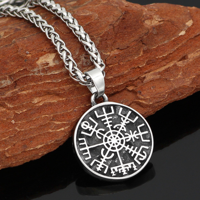 STAINLESS STEEL VIKING RUNE COMPASS NECKLACE