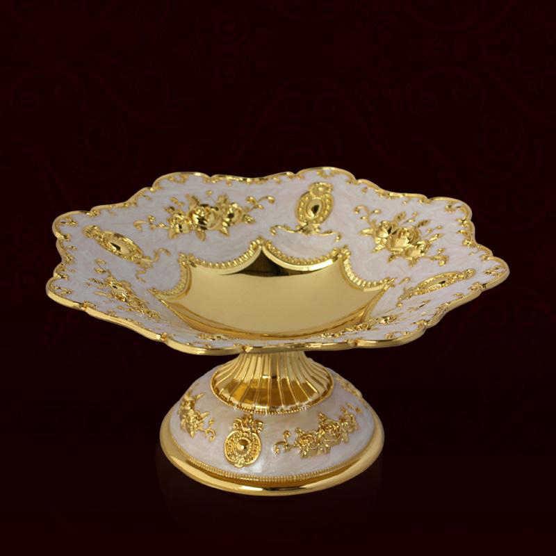 New Elegant Shiny Emas Bunga Makanan Penutup Hidangan Buah Piring Piring Piring Untuk Pernikahan Atau Pesta Mewah Europen Menempatkan Buah 03801