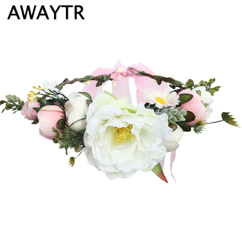 AWAYTR New Romantic Flower Crown For Women Wedding Hair Accessories Floral Crown Girls   Headwear   Garland Headband Bride