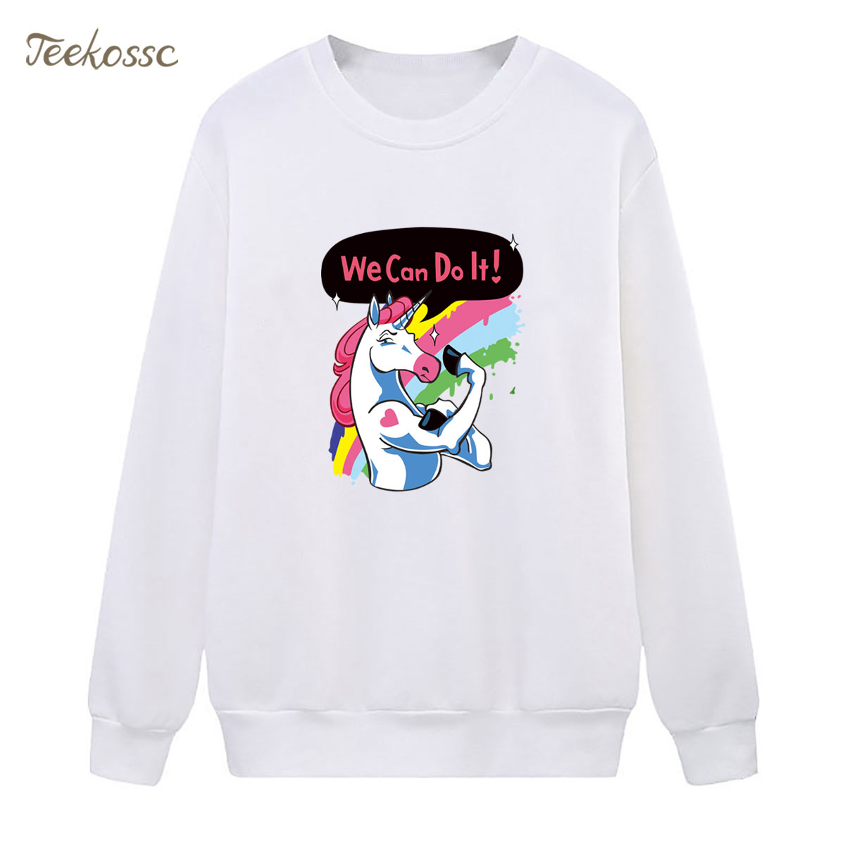Rainbow Horse Sweatshirt We Can Do It Hoodie 2018 Brand Winter Autumn Women Lasdies Pullover Fleece Warm Loose Cool Streetwear