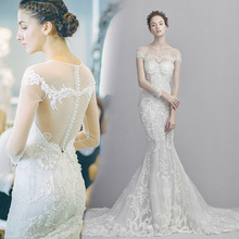 Women's round neck mermaid wedding dresses long sleeve