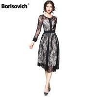 Borisovich Luxury Black Lace Women Dress New Arrival 2018 Spring Fashion O Neck Elegant Slim Ladies