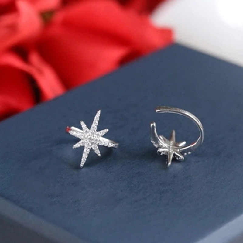 1Pcs Fashion Women Silver&Rose Gold Star Ear Cuff Micro Pave CZ Zircon No Hole Small Sized Girl Clip Earring Cuff Korean