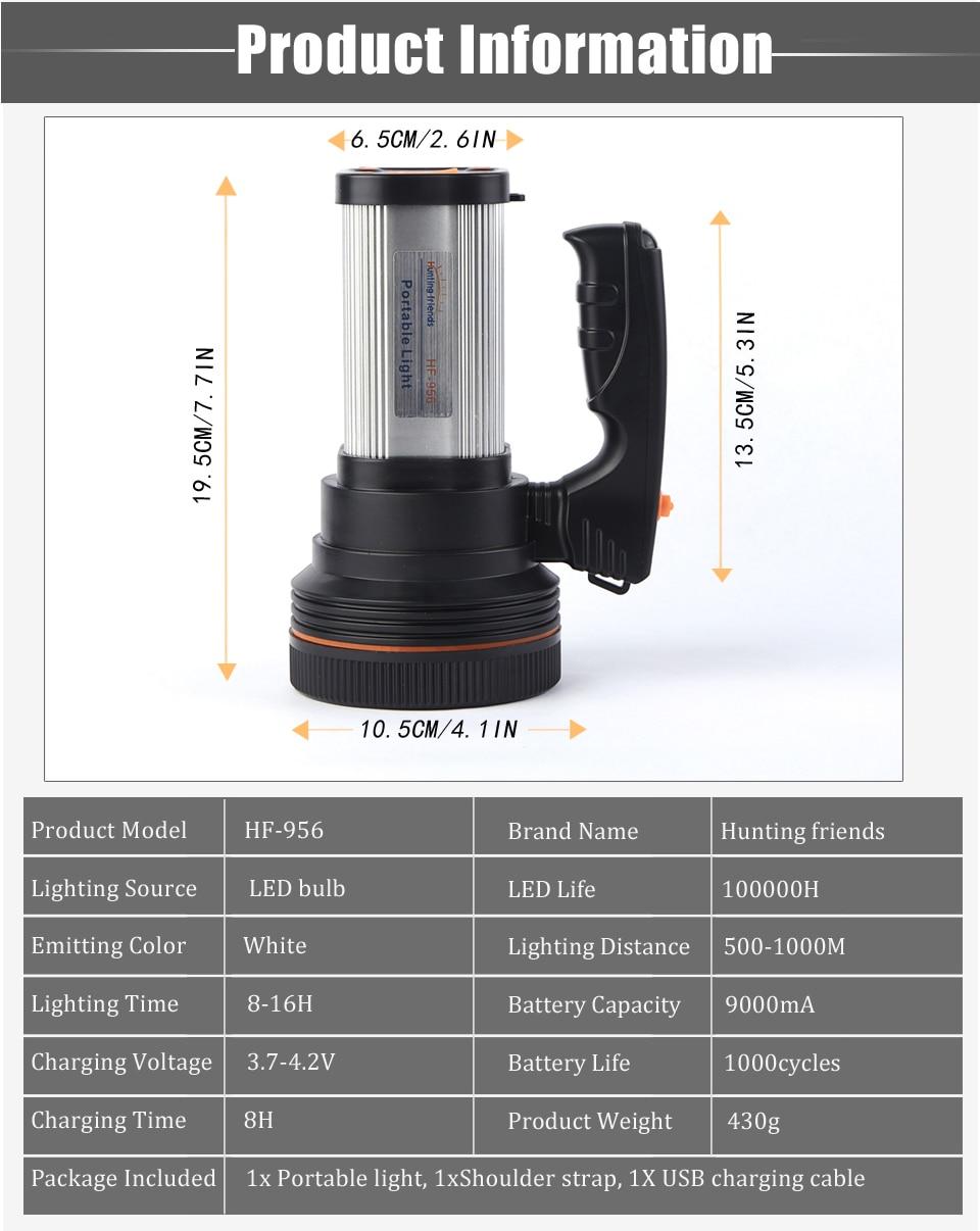 HTB15irVasfrK1RkSmLyq6xGApXaZ - Super Bright LED Portable Light(Built-in 9000mA li-ion Battery)+USB Chaging cable+ Shoulder Strap Black/Silver/Gold Color Option