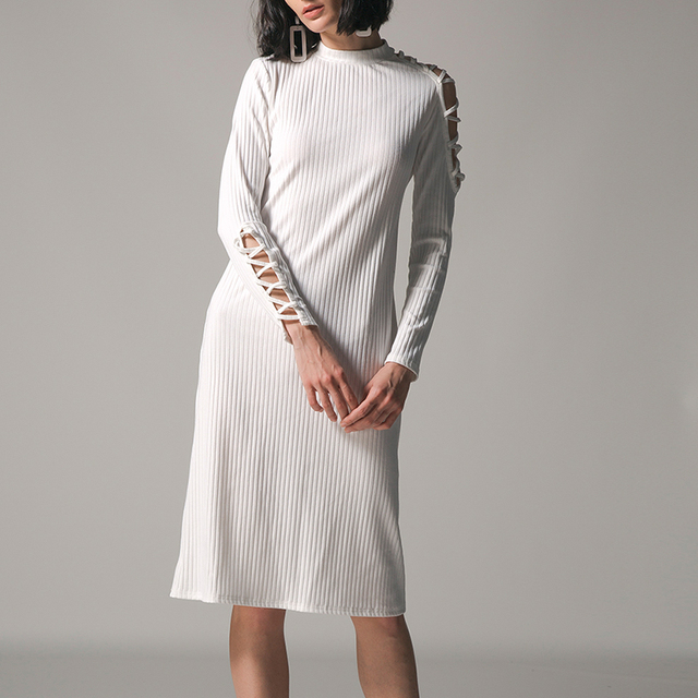 b5c8b2829f Women Winter Skinny Knitted Sweater Dresses Long Sleeve Cold Shoulder Slim  Bodycon Dress Black White Hollow Out Dress Vestidos