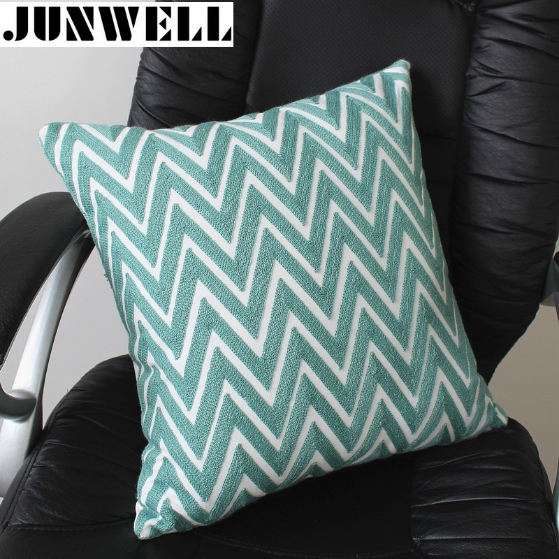 Junwell New Arrival Cott On Canvas Cushion Embroidery Pillow Sofa  Back  Cushion Coussin Cojines Decorative 45x45cm Square