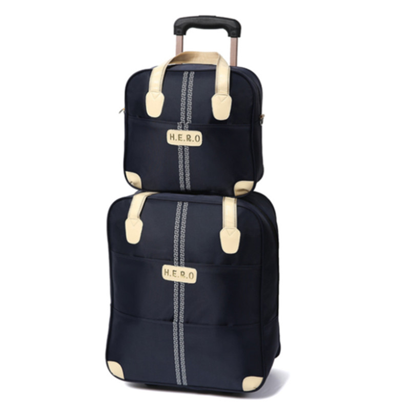 20 inch waterproof trolley suitcase luggage spinner wheels Pull Rod trunk traveller case boarding bag with handbag set package