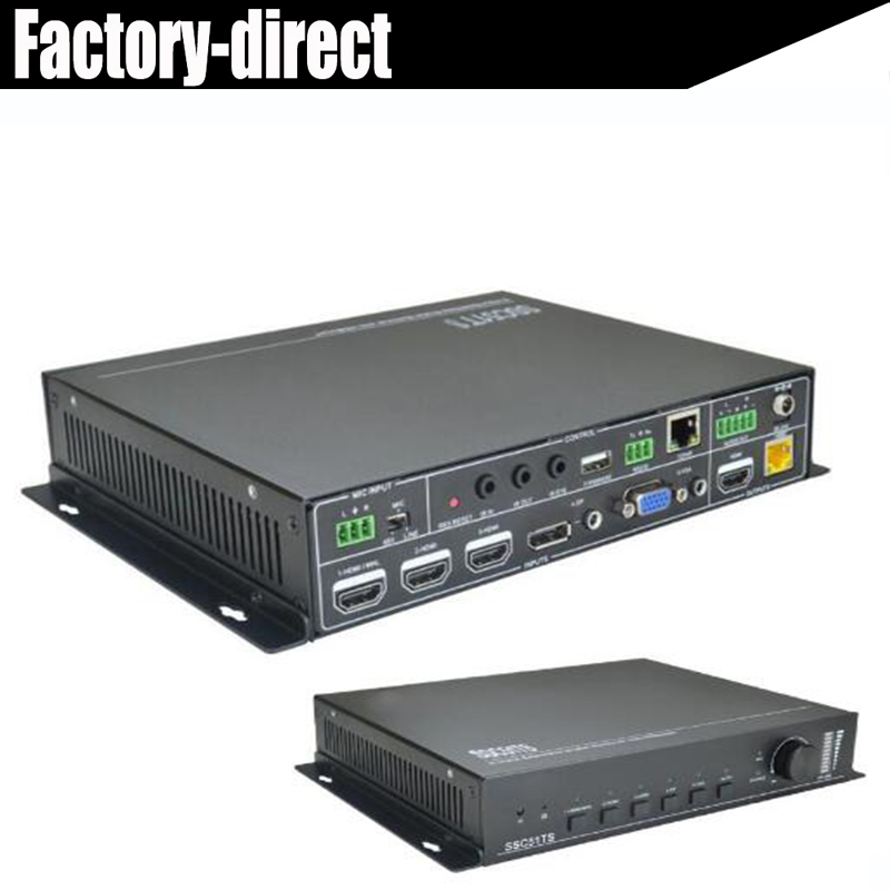 HDMI DP VGA mixed inputs HDMI Switcher Scaler HDMI/Displayport/VGA inputs to HDMI+HDbaseT output with Mic,IR&RS232 control