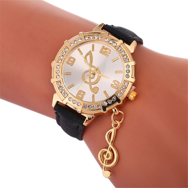Fashion Musical Symbols Bracelet Watch Ladies Leather Watch For Gift 2018 Casual