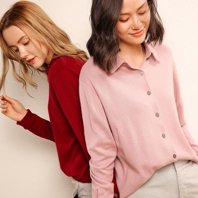 2019 Wool Spring And Autumn Jacket Women s Casual Jacket Cardigan Long sleeved Women s Large