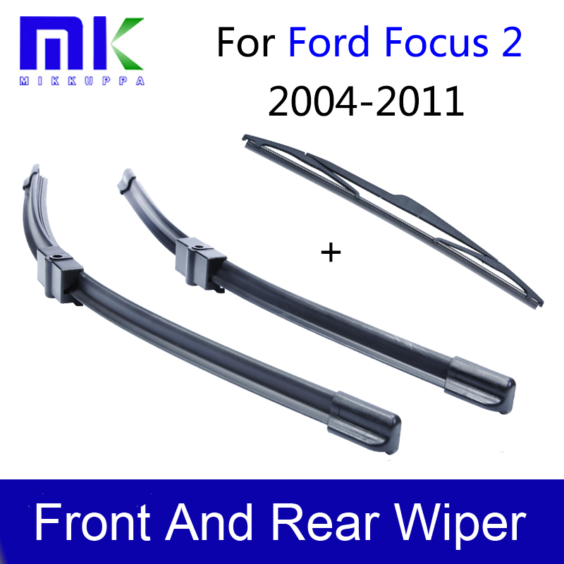 Combo Silicone Rubber Windscreen Front And Rear Wiper Blades For Ford Focus 2 2004-2011 Windshield Wipers Auto Car Accessories wiper blades for ford focus mk3 international model 28