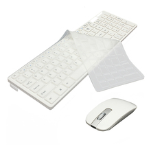 2 4G Wireless Optical Keyboard Mouse USB Receiver Kit with Keyboard Cover for PC White