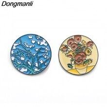 DMLSKY Van Gogh Art Brooch sunflower Enamel Pins For Women Men Backpack Personality Kids Pin Charm Jewelry M2935
