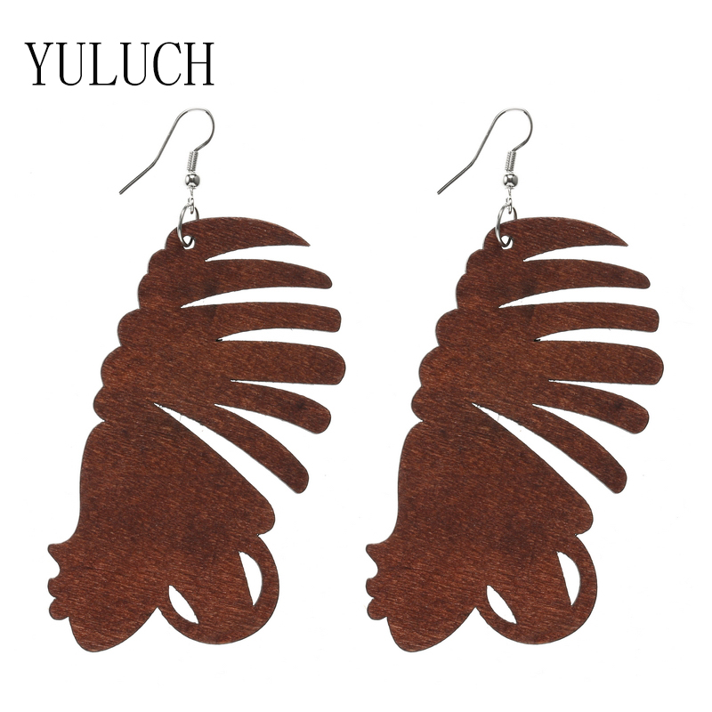 YULUCH 2018 New African Beauty Head Pendant Earrings Wood Art Jewelry Accessories for Girls Special Earrings Party Gifts M003