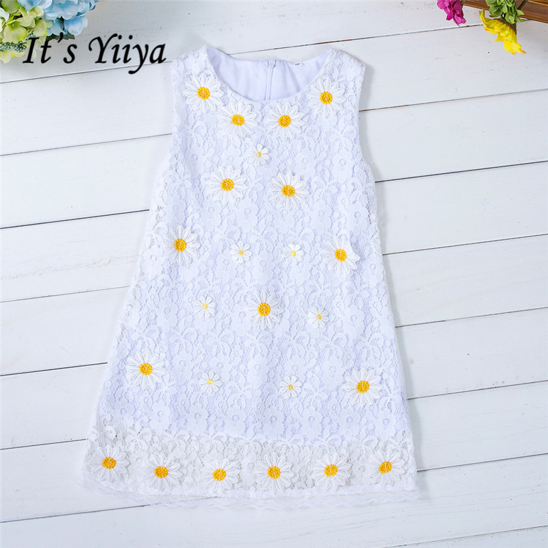 It's yiiya New O-neck Sleeveless Tank   Flower     Girl     Dresses   Summer Simple Lace   Girls     Dress   TS169