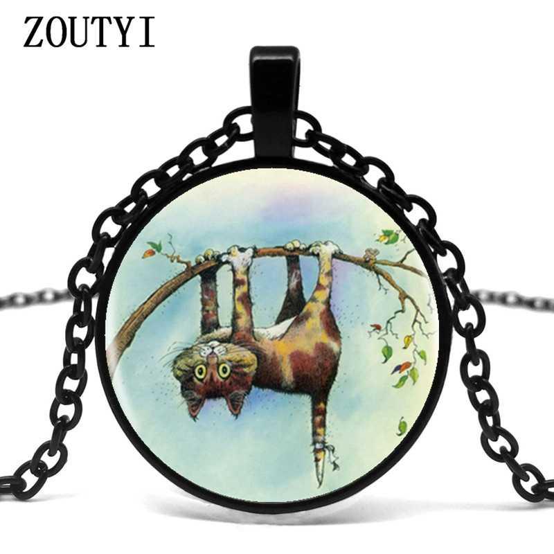 2018/кулон с логотипом озорного кота, романтическое изображение, ручная работа, 4 цвета, цепочка, винтажное ожерелье, женское ожерелье, подарок другу.