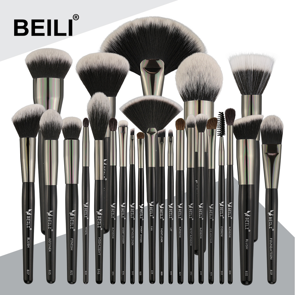 BEILI Noir 25 pcs Visage Maquillage Pinceaux Professionnel Naturel poils Synthétique Cheveux Mélange Sourcils Correcteur Fondation