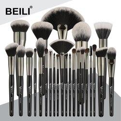 BEILI Black 25 шт. набор кистей для макияжа лица профессиональная натуральная щетина синтетические волосы смешивание брови консилер основа