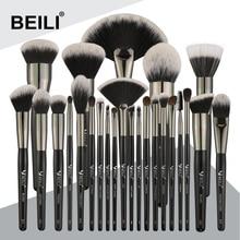BEILI Black 25PCS 프로페셔널 천연 메이크업 브러쉬 세트 파운데이션 아이 섀도우 아이 브로우 아이 라이너 컨실러 메이크업 브러쉬