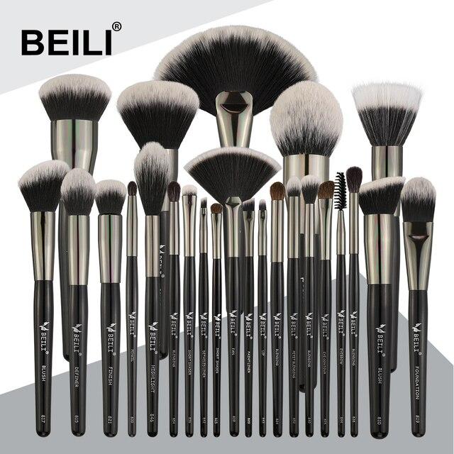 Набор профессиональных натуральных кистей для макияжа BEILI Black, 25 шт., тени для век, подводка для бровей, консилер, кисти для макияжа