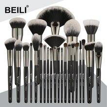 BEILI Juego de pinceles de maquillaje Natural profesional, negro, 25 uds., base, sombra de ojos, delineador de ojos, juego de brochas para maquillaje