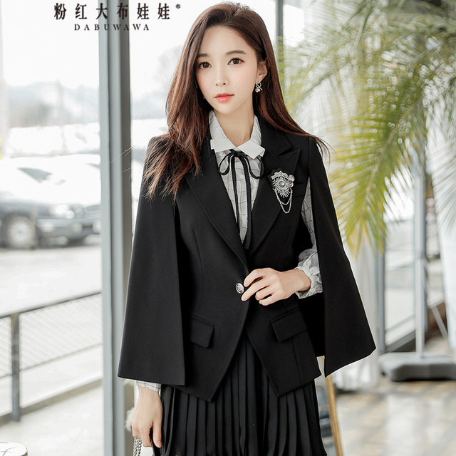original 2018 brand spring jacket handsome new brooch decorated elegant shawl casual party cloak blazer women wholesale