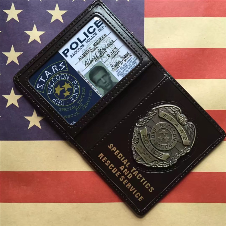 Resident Evil Stars Police metal Badge Leather case Holder ID Cards Driving Wallets Leon Wesker Chris Jill USA Movie accsssory movie stars