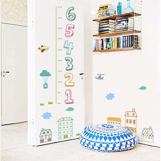 9d cartoon House city alphabet Height wall stickers home decoration ...