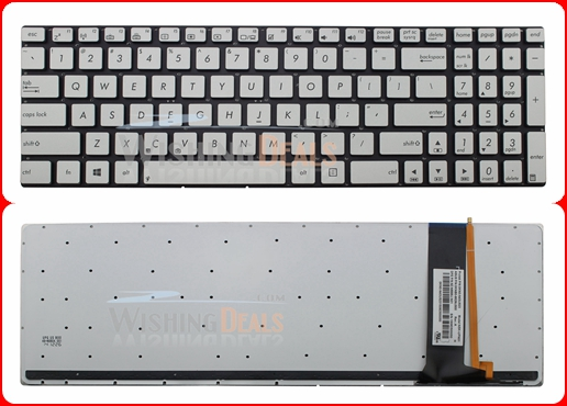 New US silver backlit keyboard for ASUS N550 N550J N550JA N550JK N550JV N550LF