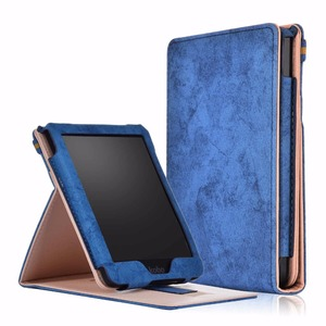 "PU leather stand smart case for new Kobo clara HD 6"" cover case for funda kobo clara HD N249 with hand holder(China)"