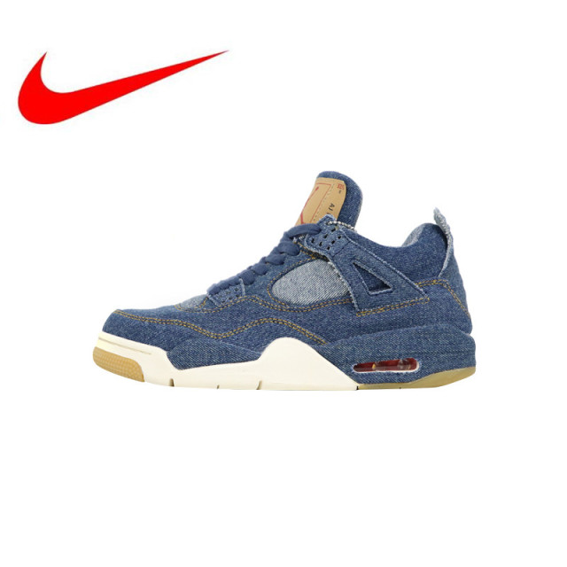 79b84c54c397 Original Nike Levi s x Air Jordan 4 Denim Men s Skateboarding Shoes Outdoor  High Quality New Sneakers Lightweight Hard-Wearing