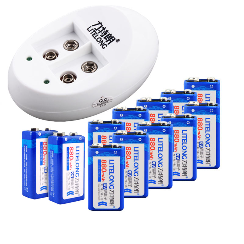 LITELONG 6f22 9v rechargeable battery set, 9v charger+12pcs 9v 880mah rechargeable lithium battery + free shipping 9v square rechargeable battery pack multimeter 6f22 two electric charge 9v charger microphone block 9v rechargeable li ion cell