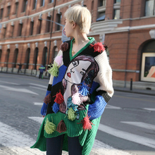 [XITAO] NEW Streetwear long loose form appliques character multiple color tassel V-neck pullovers full sleeve sweater NNB-046