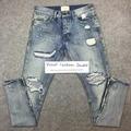 Лучшая версия страх божий ПРОТИВОТУМАННЫЕ мужчин Кромка молния уничтожены тощий slim fit джастин бибер Старинные разорвал синие джинсы
