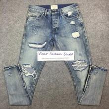 Beste version angst gottes NEBEL männer Selvedge reißverschluss zerstört skinny slim fit justin bieber Vintage riss blaue jeans