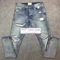 Melhor versão temor de deus NEVOEIRO homens Selvedge zipper destruído rasgado calças de brim azul jeans skinny slim fit justin bieber Vindima