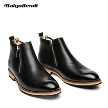 New Winter Genuine Leather Zip Ankle Boots Fashion Mens Pointed Toe Riding Formal Dress Oxford