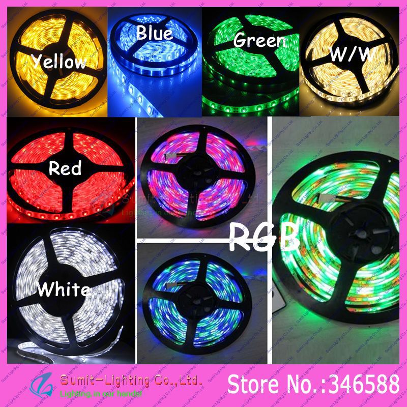 5M/Roll 300LED 3528SMD DC12V 60led/m Flexible LED Strip IP65 Epoxy Resin Waterproof, white/warm white/blue/green/red/yellow/RGB