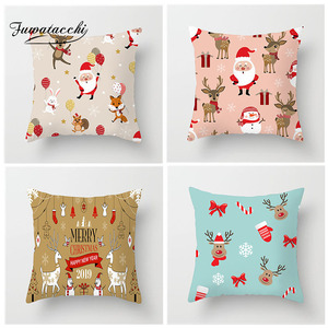 Fuwatacchi Christmas Santa Claus Printed Cushion Cover Cartoon Deer Snowman Bear Pillow Cover For Decor Home Sofa Children Room