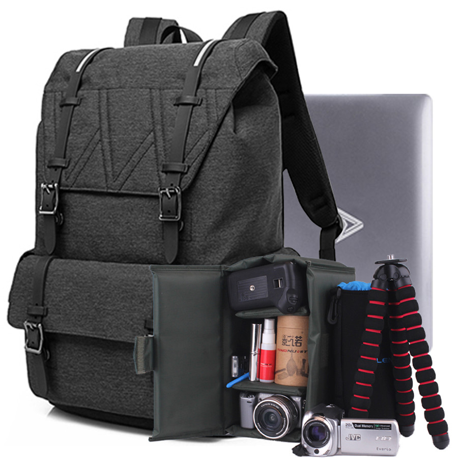 DSLR Camera Backpack Padding Lens Divider Insert Bag with 15 Laptop Pack Travel Bag for Canon 5D 7D 600D Nikon D7200 Sony A6000 high quality army green rucksack canvas backpack camera bag for nikon canon sony dslr camera