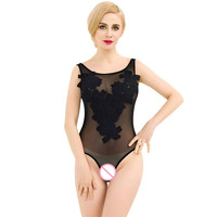 2018 New Sexy Playsuit Plus Size Up Floral Embroider Dantel Body Suits Black White 2XL Sheer Mesh Sexy Teddy Lingerie Bodysuit