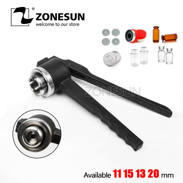 ZONESUN 13mm Stainless Steel Manual Vial Crimper Flip Off Caps Hand Sealing Machine Tool, Crimper seals