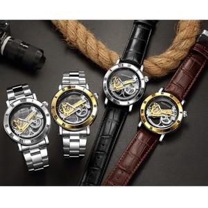 Image 5 - GEEKTHINK Thời Trang thương hiệu Hàng Đầu Skeleton Tourbillon automatic Watch Men Đồng Hồ Cơ Skeleton Genuine Leather strap men tự gió nam