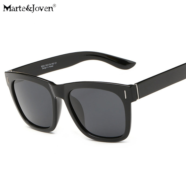 27f54b97d4  Marte Joven  Vintage Ultralight TR90 Square Polarized Black Sunglasses  Women Men Point Design Tinted Popular Eyewear With Box