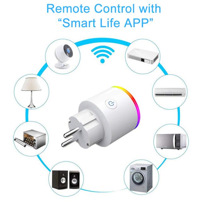 16A RGB wifi Smart Plug with Power Monitor