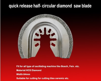 Free Shipping Of Quick Release Semi Circular 64mm Electroplated Diamond Saw Blade Multifunctional Oscillating Tools Accessories